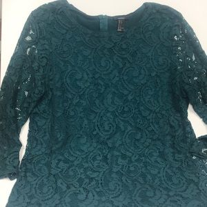 Emerald green lace top